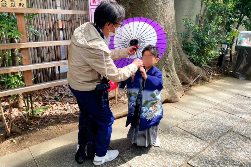七五三、和傘の演出